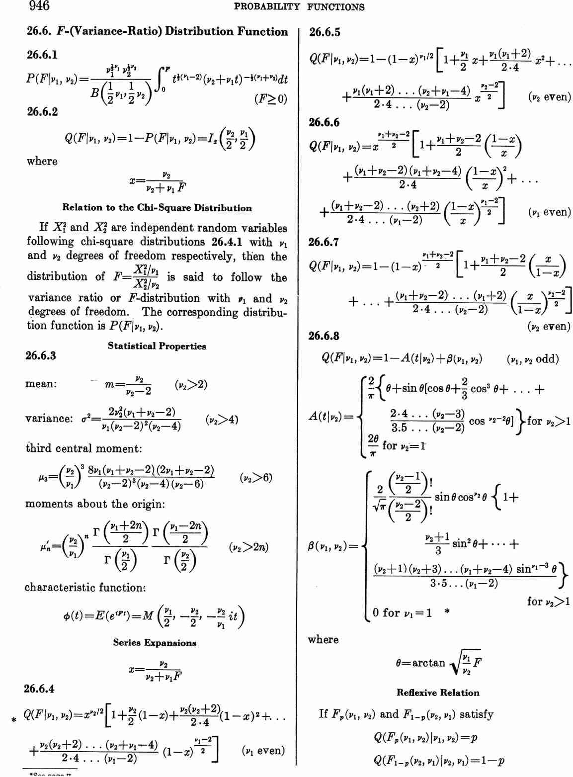 Abramowitz and Stegun. Page 946 Aands